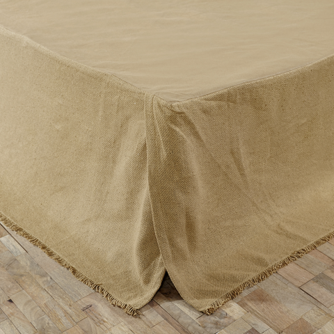Burlap Natural Fringed Queen Bed Skirt