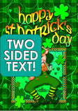 Happy Leprechaun Garden Flag (Two Sided Text)
