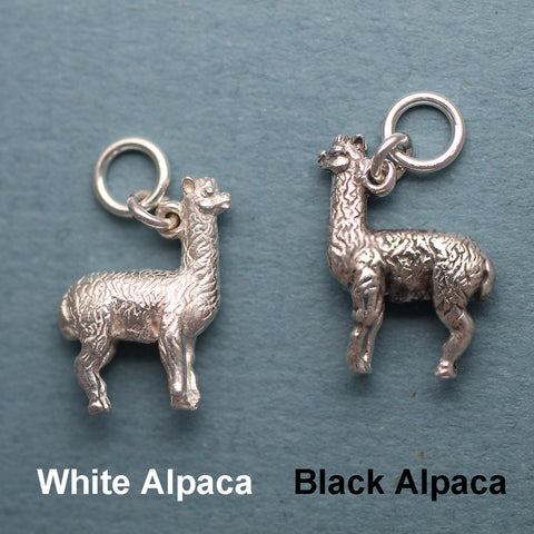 Black and White Alpaca Charm
