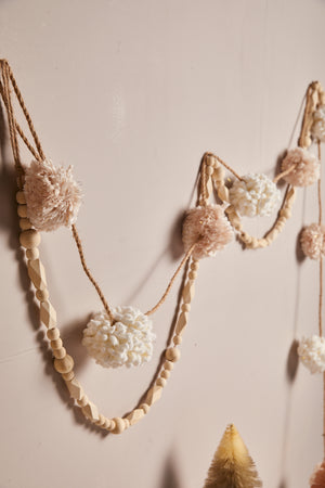 Pink and Cream Pom Pom Garland - picnic-sf