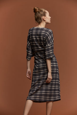 Check Knit Midi Dress - picnic-sf