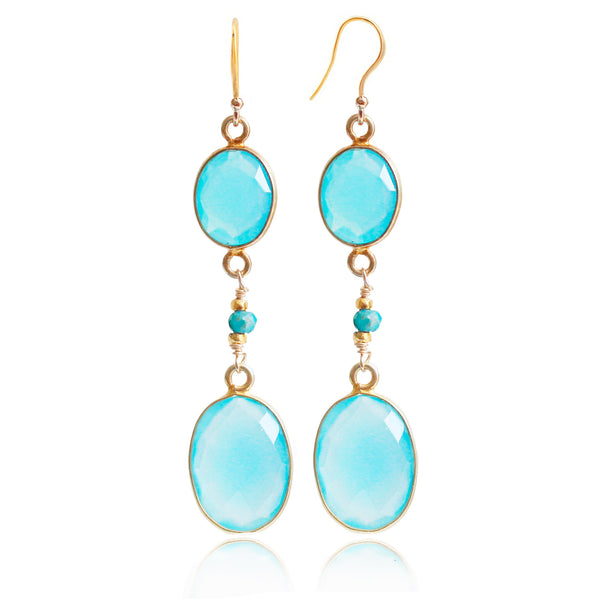 Gold Aqua Chalcedony Drop Earrings