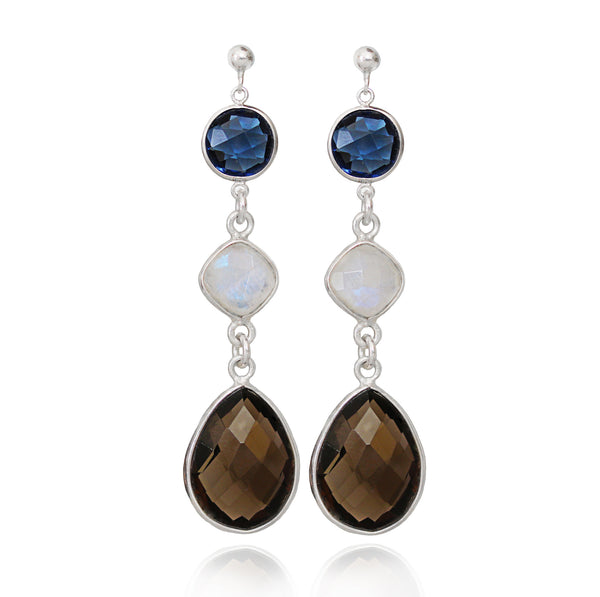 Smoky Quartz & Moonstone Silver Drop Earrings