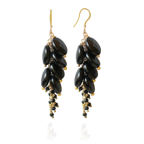 Gold Black Onyx Cluster Earrings