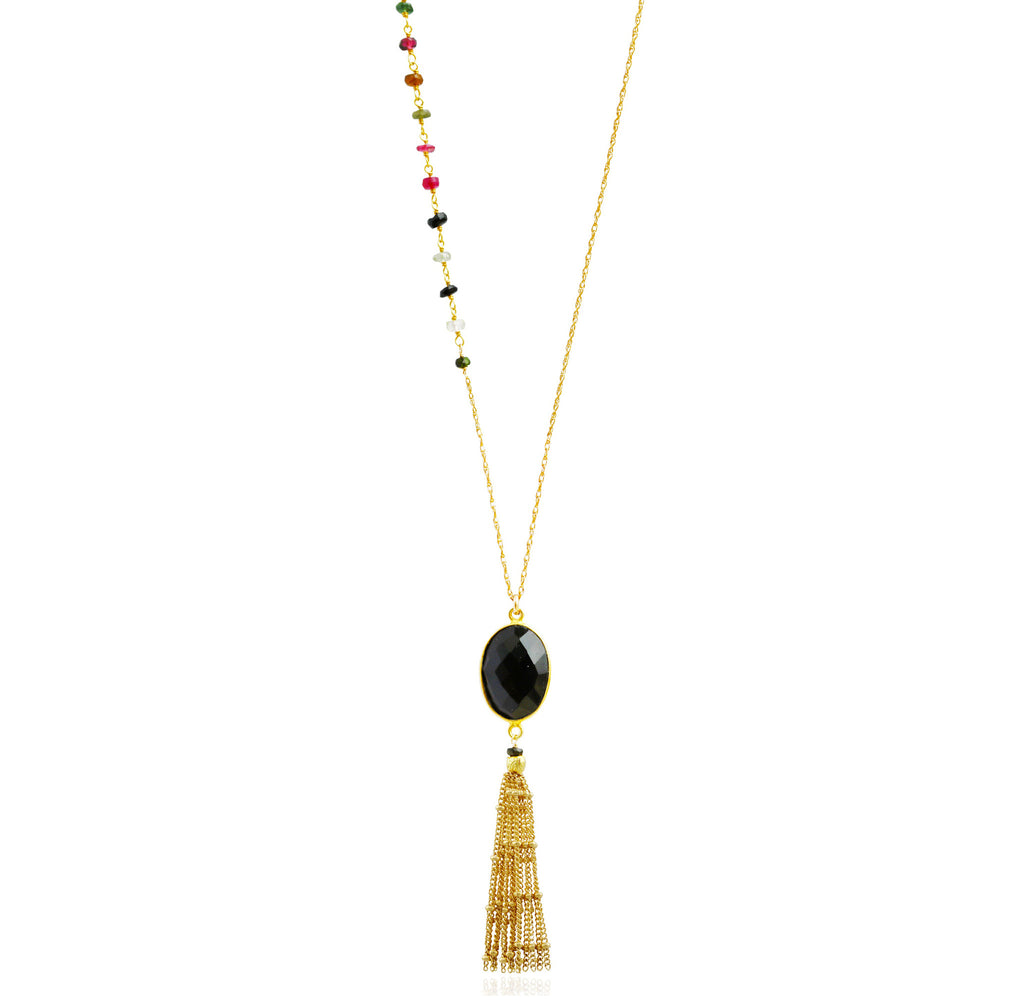Asymmetric Gold Black Onyx Tassel Necklace