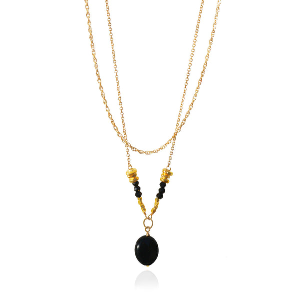 Black Onyx & Spinel Layered Necklace
