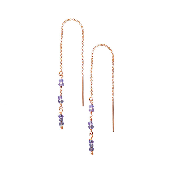 Rose Gold Tanzanite Thread Earrings
