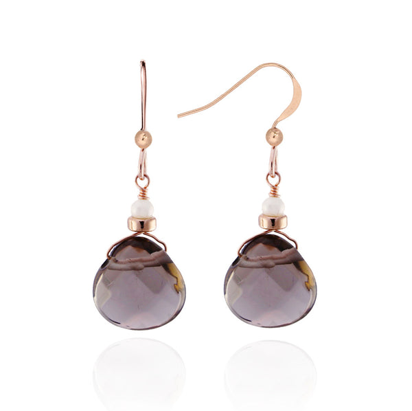 Rose Gold Smoky Quartz & Pearl Earrings