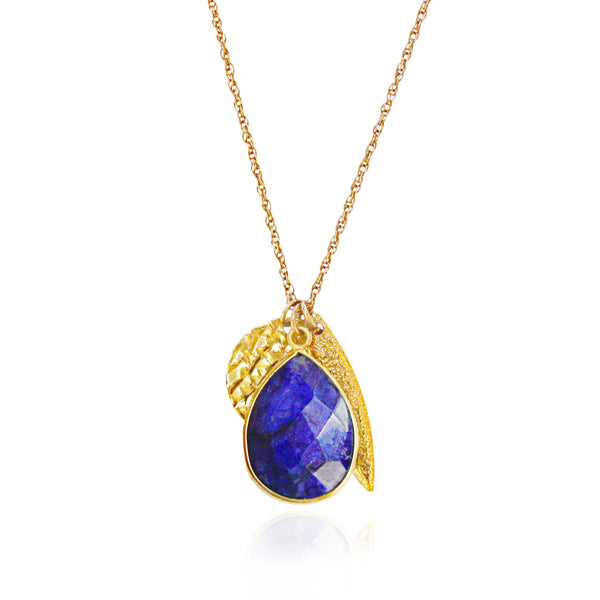 Blue Gemstone Gold Charm Necklace