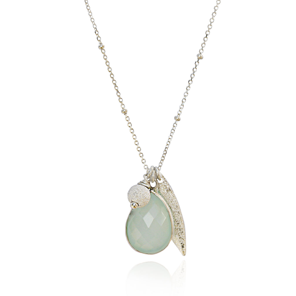 Silver Aqua Chalcedony Charm Necklace