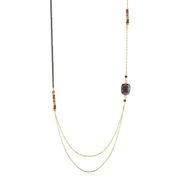 Asymmetric Gold Smoky Quartz & Tundra Sapphire Long Necklace