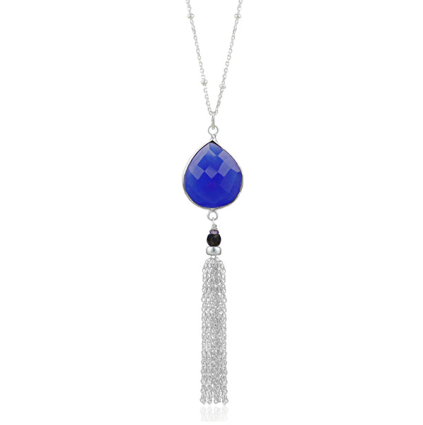 Silver Blue Chalcedony Tassel Necklace
