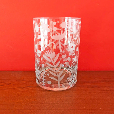 Hand Decorated Floral Glass Vase
