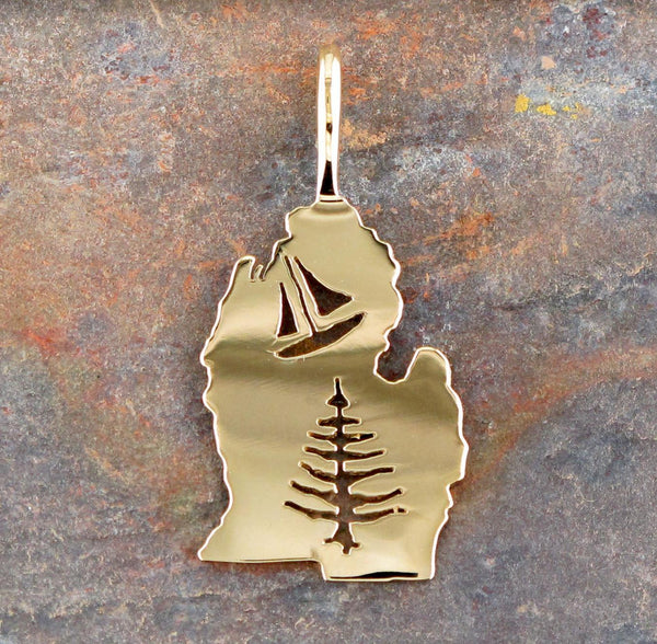 14K Yellow Gold Lower Michigan Charm