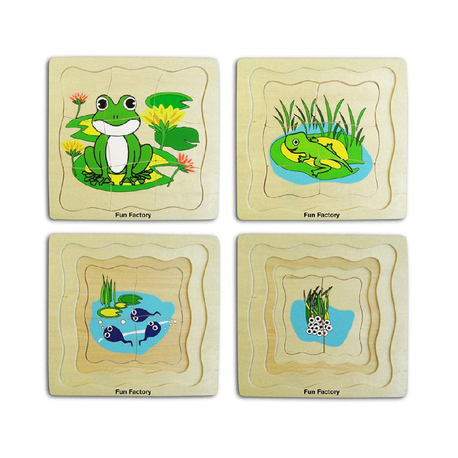 Fun Factory - Wooden Frog Lifecycle Puzzle - 4 layer - CleverStuff