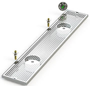 "8"" X 45"" Surface Mount Drip Tray with Double Drain and Double Rinser Holes - ACU Precision Sheet Metal"