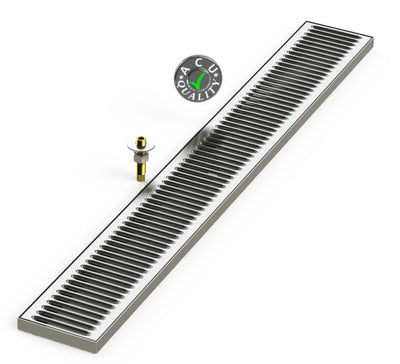 "Surface Mount Drip Tray with Drain 5"" X 40"" X 3/4"" 