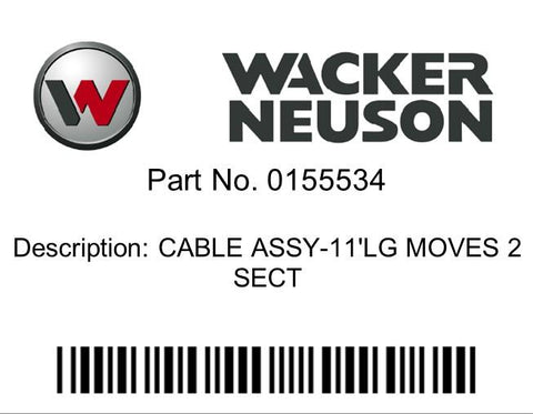 Wacker Neuson : CABLE ASSY-11'LG MOVES 2  SECT Part No. 0155534