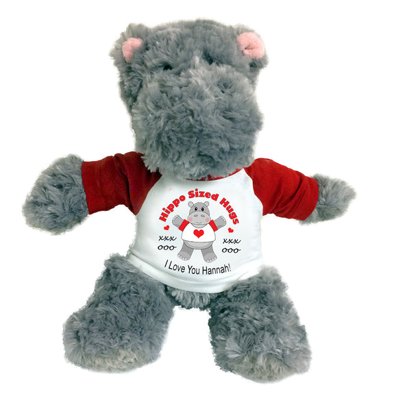 "Personalized Valentine or Love Hippo - 12"" Plush Hippopotamus - Hippo Sized Hugs! Red"