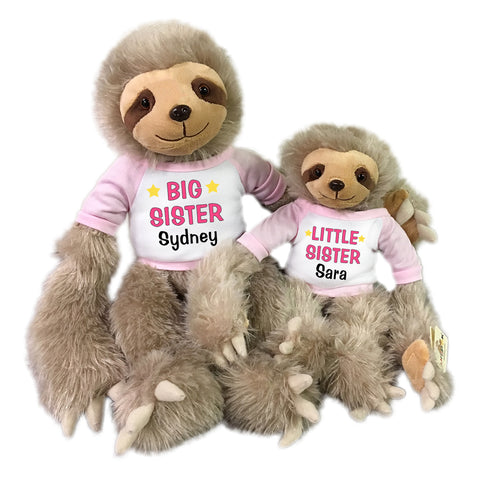 "Big Sister / Little Sister Personalized stuffed Sloths - Set of 2 Tan sloths, 18"" and 12"""