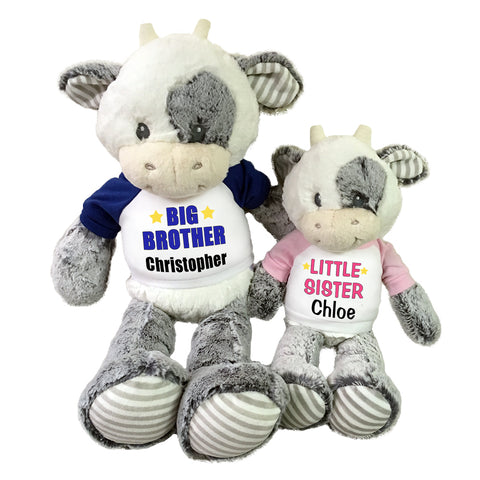 "Big Brother / Little Sister Personalized Stuffed Cows - Set of 2 Coby Cows, 20"" and 12"""