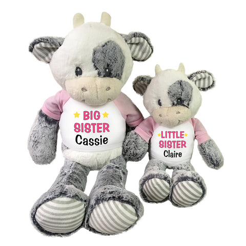 "Big Sister / Little Sister Personalized Stuffed Cows - Set of 2 Coby Cows, 20"" and 12"""