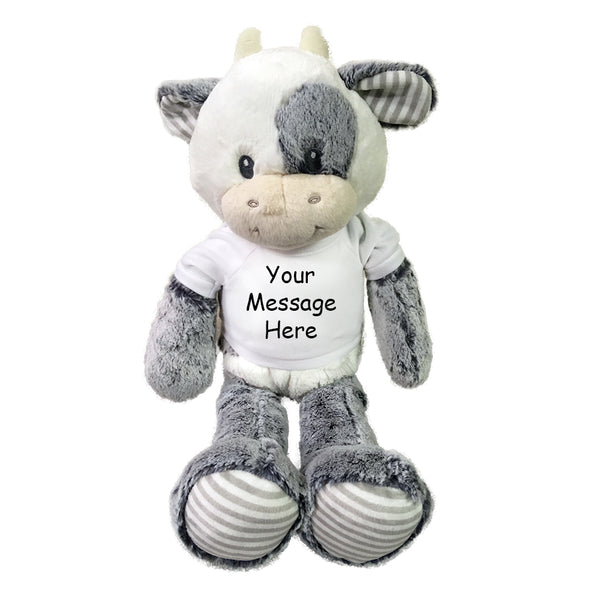 "Personalized Stuffed Cow - 20"" Coby Cow, Ebba Baby Plush Collection"