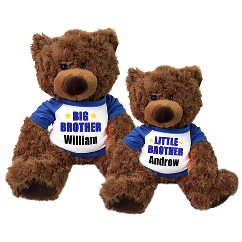 Big Brother / Little Brother Personalized Teddy Bears - Set of 2 Coco Bears