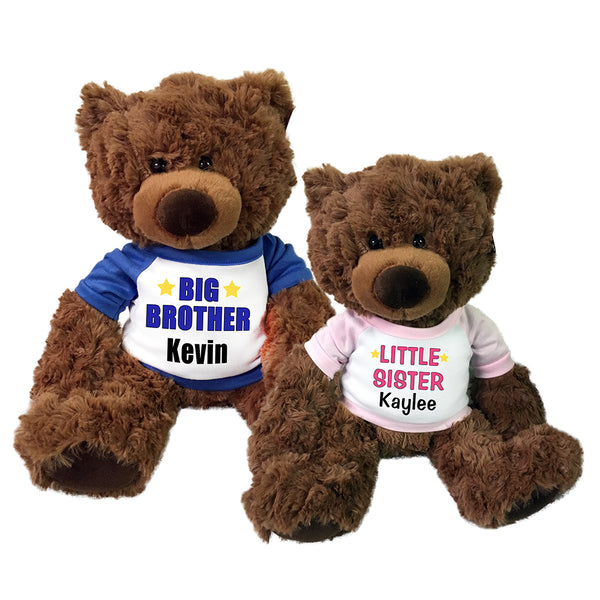 Big Brother / Little Sister Personalized Teddy Bears - Set of 2 Coco Bears