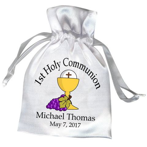 Personalized First Communion Favor Bag - Chalice with Grapes