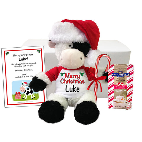 "Personalized Stuffed Cow Christmas Gift Set - 12"" Tubbie Wubbie Cow"