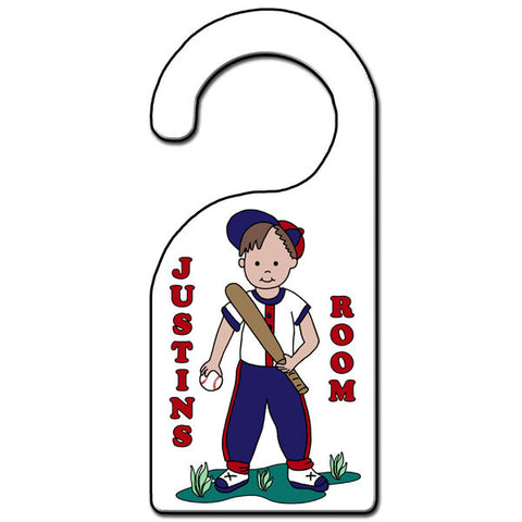 Baseball Boy Door Hanger