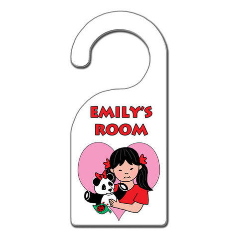Asian girl with Panda Door Hanger