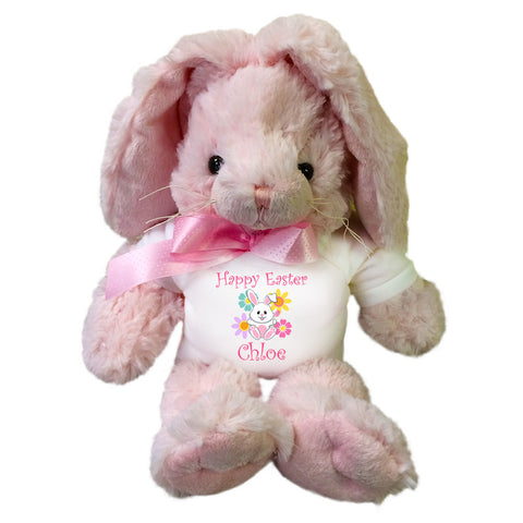 Personalized Stuffed Pink Easter Bunny