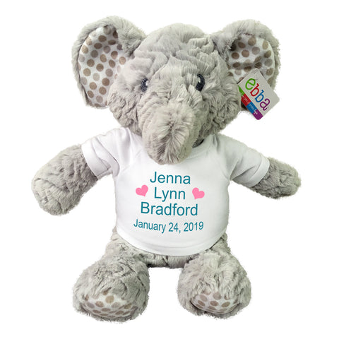 "Personalized Stuffed Elephant for Baby Girl or Boy- 14"" ""Elefunt"", Ebba Baby Collection"