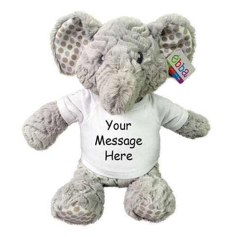 "Personalized Stuffed Elephant - 14 inch ""Elefunt"" - Ebba Baby Collection"