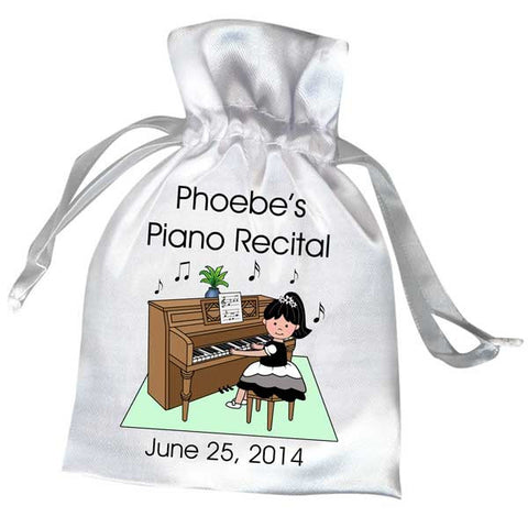Piano Recital Girl Satin Favor Bag