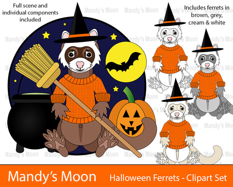Halloween Ferrets Clipart Set (Personal & Nonprofit Use only)