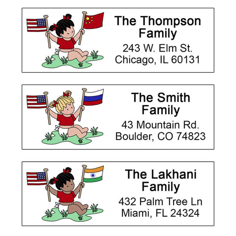 Flag Baby Girl Adoption Address Labels