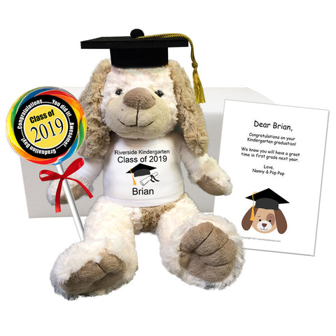 "Graduation Dog Class of 2019 Personalized Gift Set - 14"" Cream & Brown Dog"