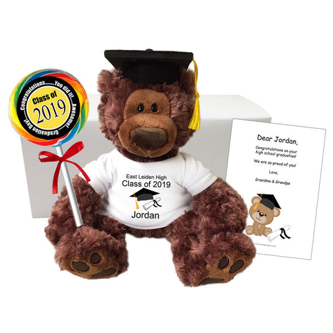 "Graduation Teddy Bear Class of 2019 Personalized Gift Set - 12"" Gund Dark Brown Philbin Bear"