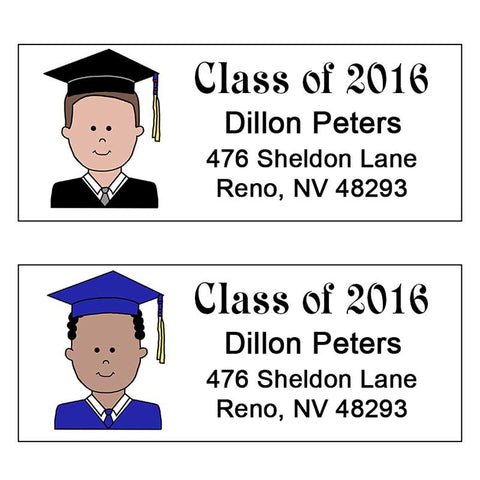 Cartoon Graduation Address Labels - Boy or Man