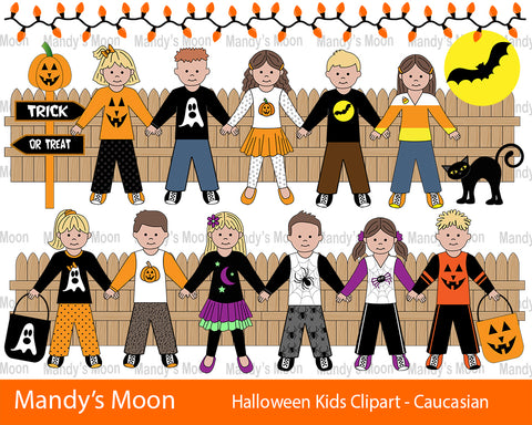 Halloween Kids Clipart Set - Caucasian Kids (Personal & Nonprofit Use only)