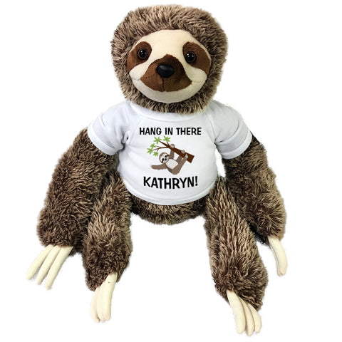 Hang in There Personalized Stuffed Sloth - 15 inch Aurora Plush Encouragement or Get Well Gift