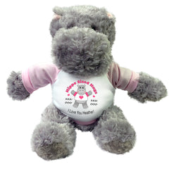 "Personalized Valentine or Love Hippo - 12"" Plush Hippopotamus - Hippo Sized Hugs! Pink"