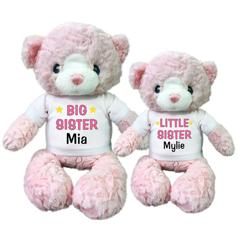 "Big Sister / Little Sister Personalized Teddy Bears - Set of 2 Pink Huggy Bears, 13"" and 11"""
