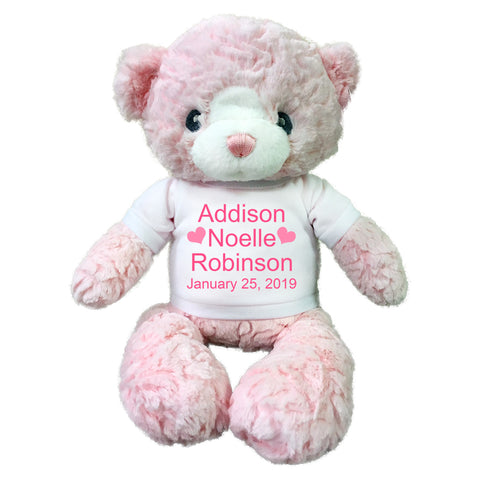 "Personalized Teddy Bear for Baby Girl - 15"" Pink Huggy Bear by Ebba Baby"