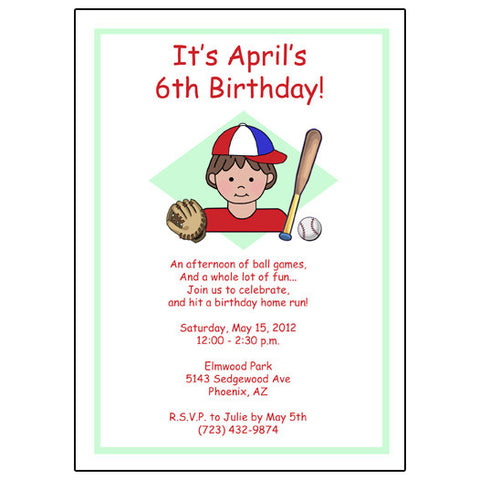 Baseball Kid Invitation - Girl