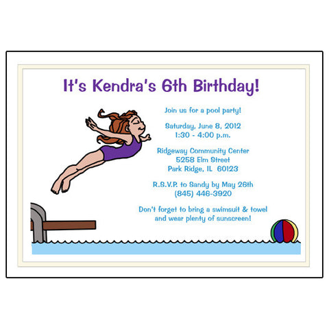 Pool or Swimming Birthday Party Invitation - Girl