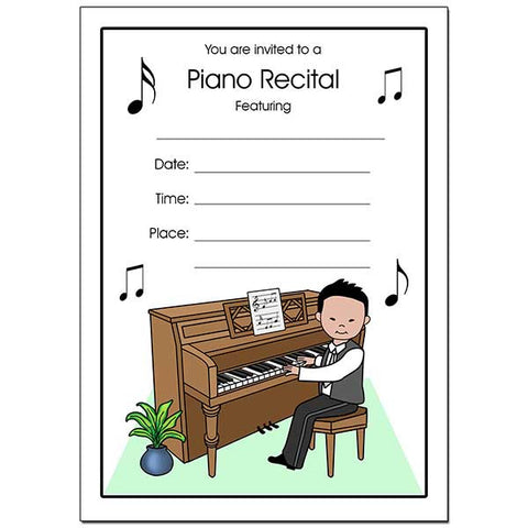Piano Recital Boy Fill In the Blank Invitations